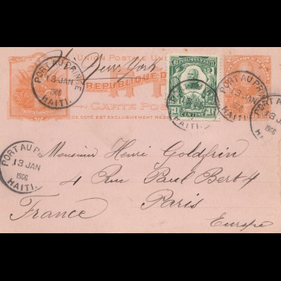 Haiti: 1906: post card Port au Prince to Paris