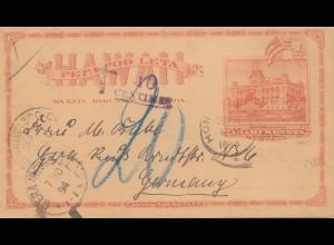 Hawai: 1894: post card to Gera/Germany, Taxe