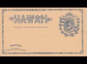 Hawai: post card with Akahi Keneta, unused 1881