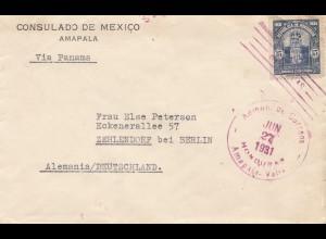 Honduras: 1931: Consulado de Mexico, Ampala via Panama to Berlin