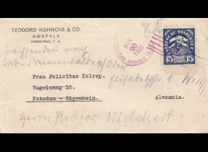 Honduras: 1928: Ampala to Potsdam - forwarded- Bad Ferienwalde