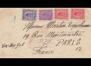Honduras: 1921: Registered Truxillo via Liverpool-Belize to Paris