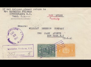 Honduras: 1941: registered Tegucigalpa to New York