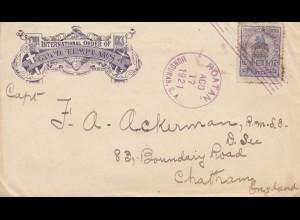 Honduras: 1921: letter Roatan to Chatham/England