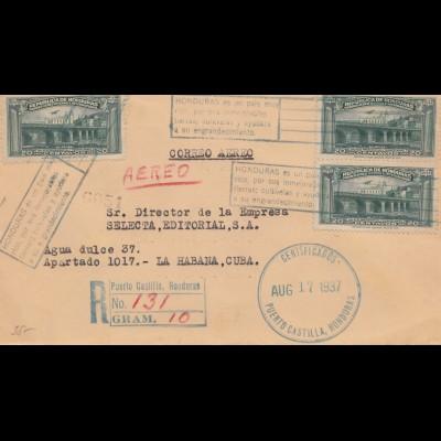 Honduras: 1937: letter from Puerto Castilla to La Habana, registered