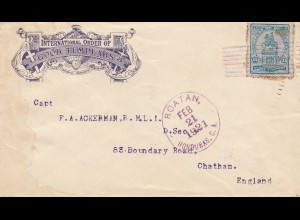 Honduras: 1921: letter Roatan to Chatham in England