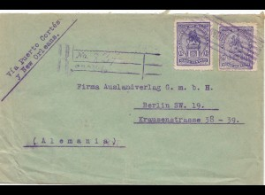 Honduras 1922 Registered Tegucigalpa via Puerto Cortés and New Orleans to Berlin