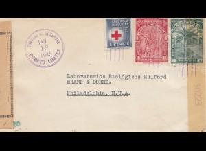 Honduras: 1945 Puerto Cortes to Philadelphia, censor 2x