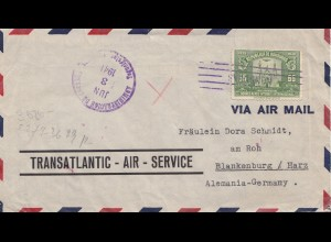 Honduras: 1941: Tegucigalpa via air mail to Blankenburg
