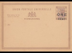 Hong Kong: post card unused one cent