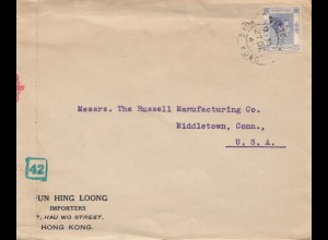 Hong Kong: 1940: letter to Middletown, Conn, censor