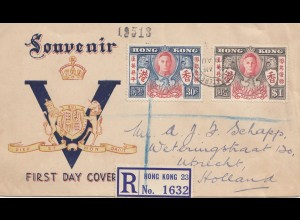 Hong Kong: 1945: FDC registered to Utrecht, Holland