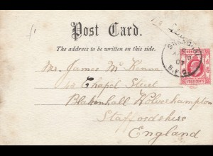 Hong Kong: 1907: Shanghai post card to Staffordshire/England