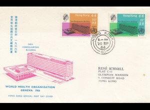 Hong Kong: 1966: FDC World Health Organization Geneva