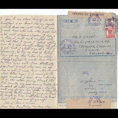 India: 1943 letter card, air mail, field and Unit censor to Wales/England