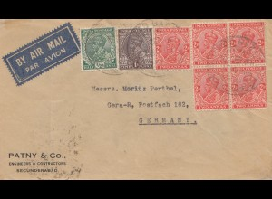 India: 1936: air Mail Secunderabat to Gera/Germany