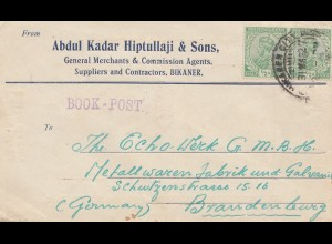 India: 1922 Bikaner to Brandenburg/Germany, Book-post, Pakistan Perfumery