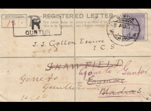 India: 1902 registered Guntur to Madras and back