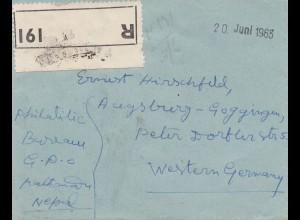 Nepal: 1963: Registered Nepal Thmandu to Augsburg