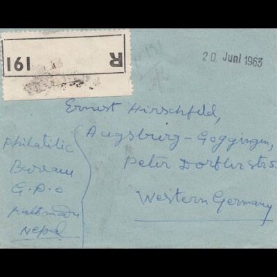 Nepal: 1963: Registered Nepal Thmandu to Augsburg