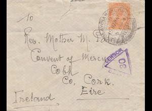 India: 1940 letter to Ireland Cobh, Censor