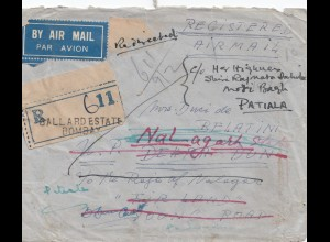 India: Registered air mail Gallard Estate Bombay to Patiala - forwarded