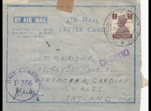 India: 1944: air mail letter card DHB/110 to Cardiff/Wales, Unit Censor