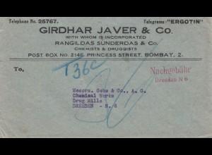 India: 1956: Bombay to Dresden, Taxe - Nachgebühr Dresden N6