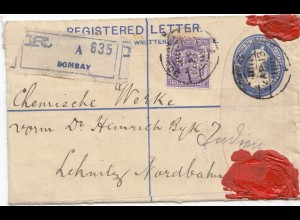 India: 1913: registered Bombay to Lehnitz/Germany, Perfin