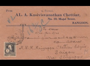 India 1928: Rangoon to Saigon via Singapore, Taxe Indo-Chine