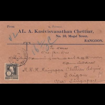 India 1928: Rangoon to Saigon via Singapore, Taxe Indo-Chine