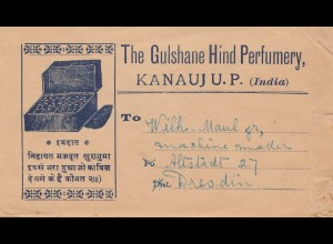 India 1927: letter from Kanauj U.P. to Dresden, Typing machine