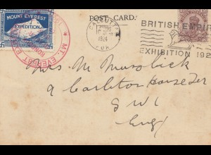 India 1924: post card Mt. Everest from Calcutta to England
