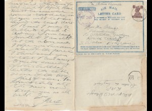 India 194x: air mail letter card, unit censor to S. Wales