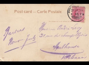 India 1909: post card Ahmedabad to Mulhouse