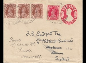India 1941: letter to Cornwall/England