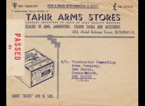 India 1940: Tahir Arms Store, Fishing, Bombay to New Haven/USA, censor