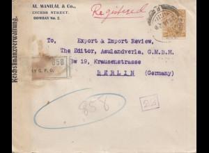 India 1922 regist. Bombay-Berlin, opened Reichsfinanzverwaltung, Postüberwachung