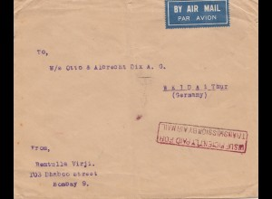 India 1933: air mail Bobmay to Weida/Thüringen UISUF paid,
