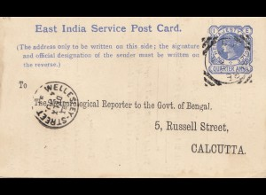 India 1890: East India Service post card to Calcutta