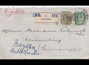 India 1913: Registered Karashi to Weissenburg/Germany