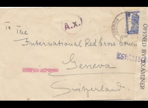 India 1943: Bobmay to Geneva/Red Cross, censor