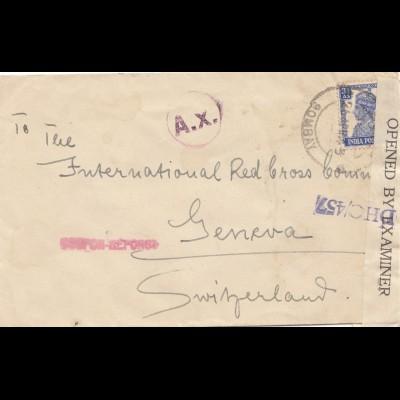 India 1943: Bobmay to Geneva/Red Cross, censor