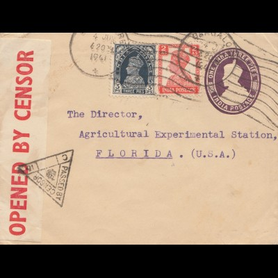 India 1941: Bangalore to Floriday, censor with remarks