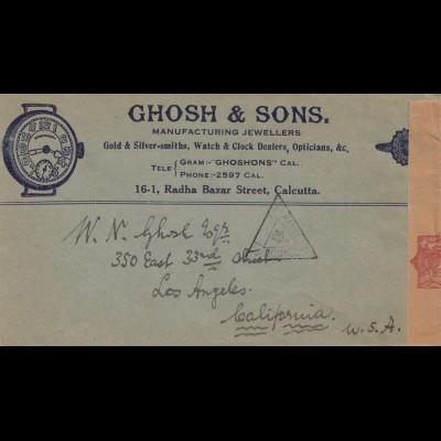 India 1940: letter Calcutta to Los Angeles, censor