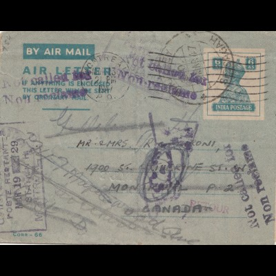 India 1941: air Mail Hautley to Canada - unclaimed - not called for