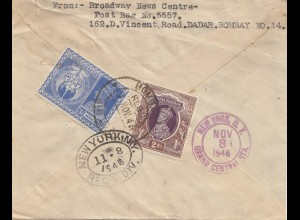 India: 1946: Dadar Bombay to New York, Registered, air mail