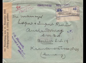 India: 1921: Registered Amritsar to Berlin, opened Postüberwachungsstelle