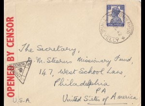 India: 1942: letter Ohnavur to Philadephia, censor