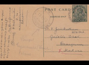 India: 1931: post card to Pannagaram